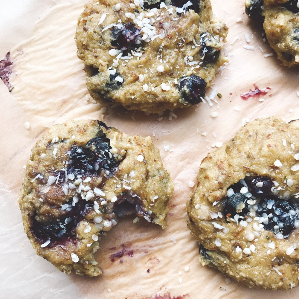 Simple hemp blueberry cookies that are perfect for breakfast or a quick snack on the go.