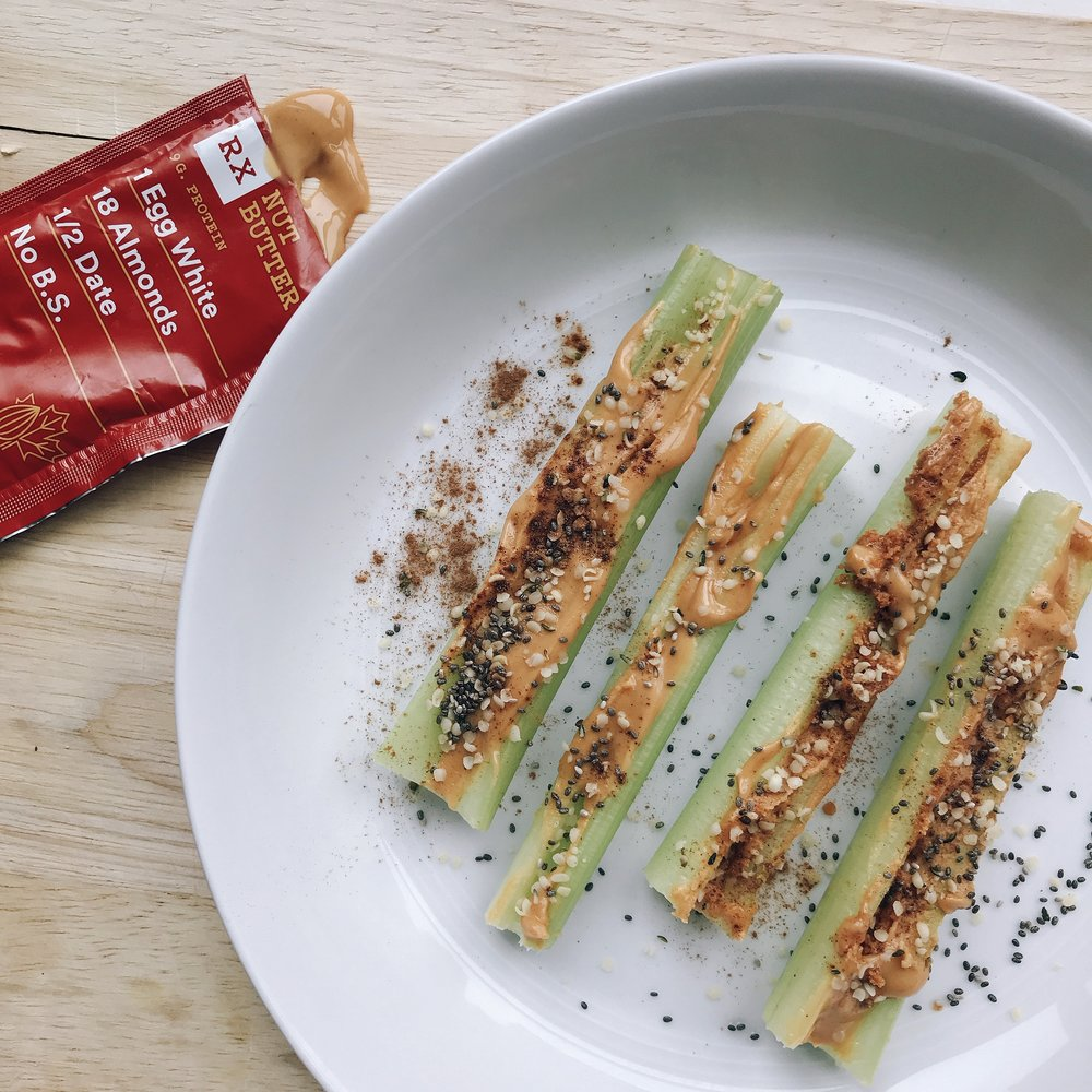 Celery sticks with 1 packet of the maple almond butter, 1 tbsp chia seeds, 1 tbsp. hemp seeds, cinnamon.