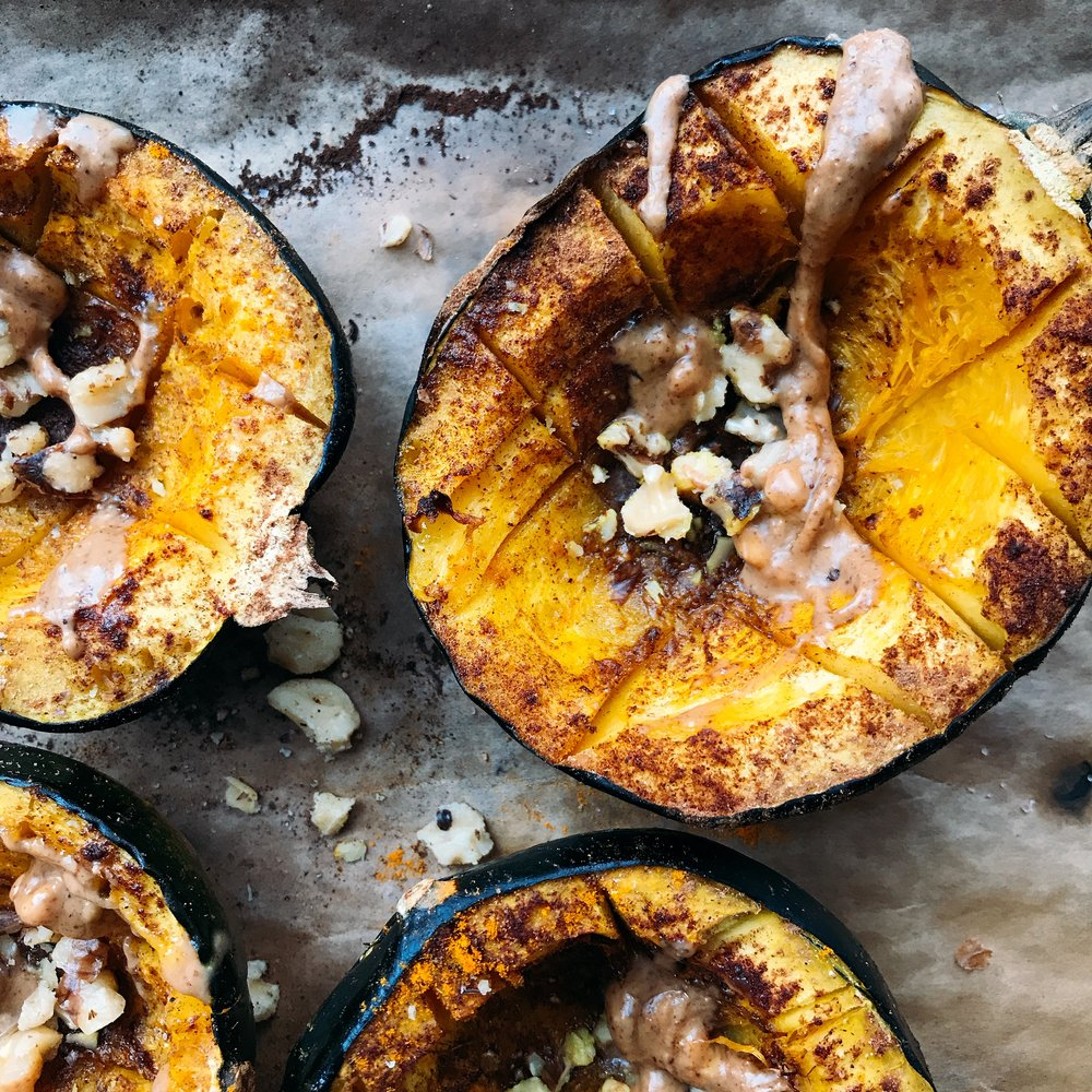 Maple Cinnamon Roasted Acorn Squash for the perfect fall side dish.