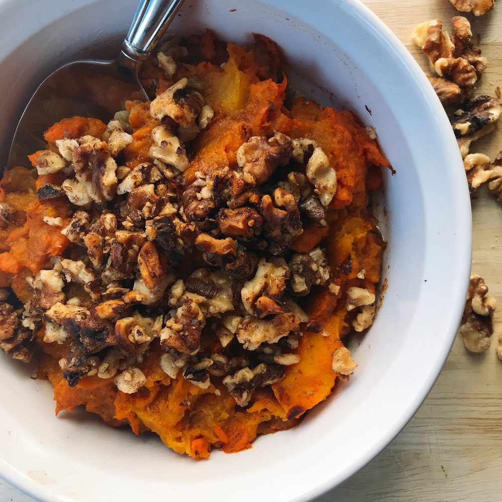 A slightly sweet butternut squash and sweet potato casserole for one with candied walnuts! Completely dairy free, lightly sweetened, and comforting! Perfect for the holidays (can be doubled) or just for a week night side!