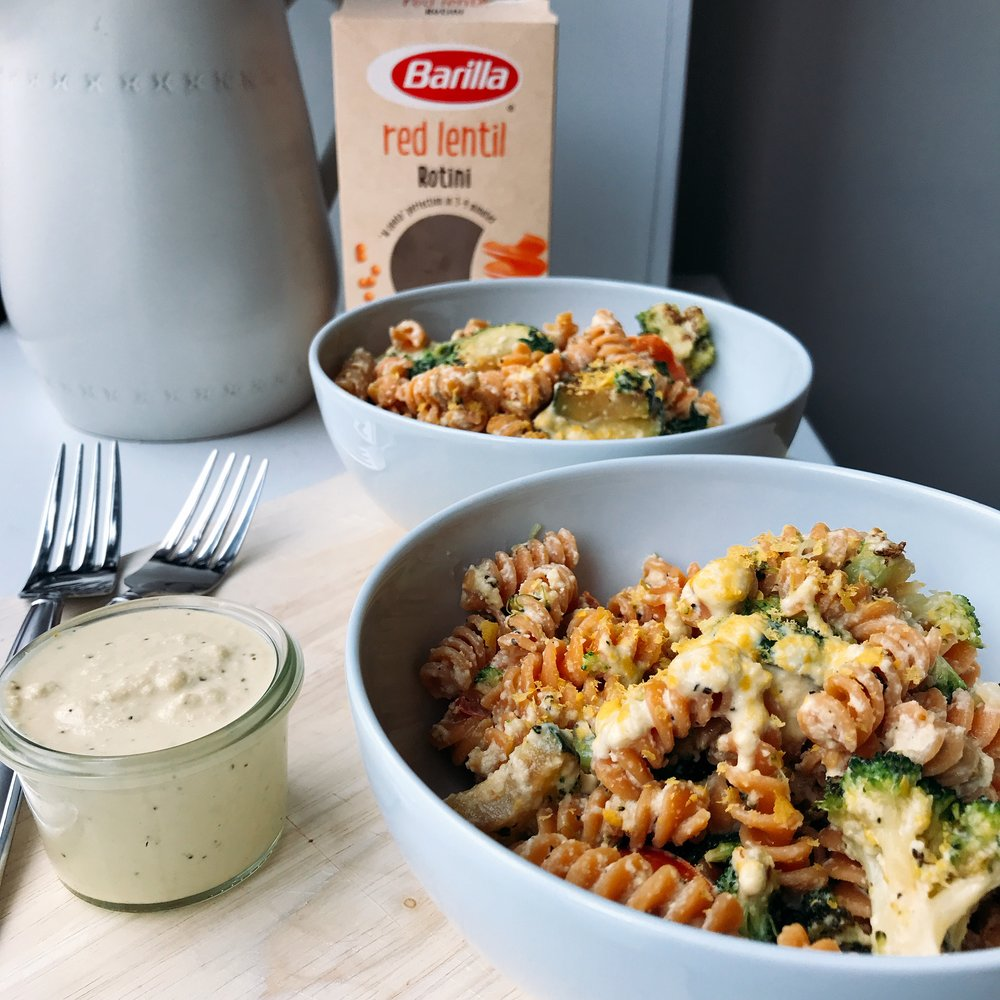 A delicious red lentil pasta with vegetables and a simple homemade cashew sauce that is perfect for a weeknight dinner or work day lunch! Completely dairy free, gluten free, and grain free!