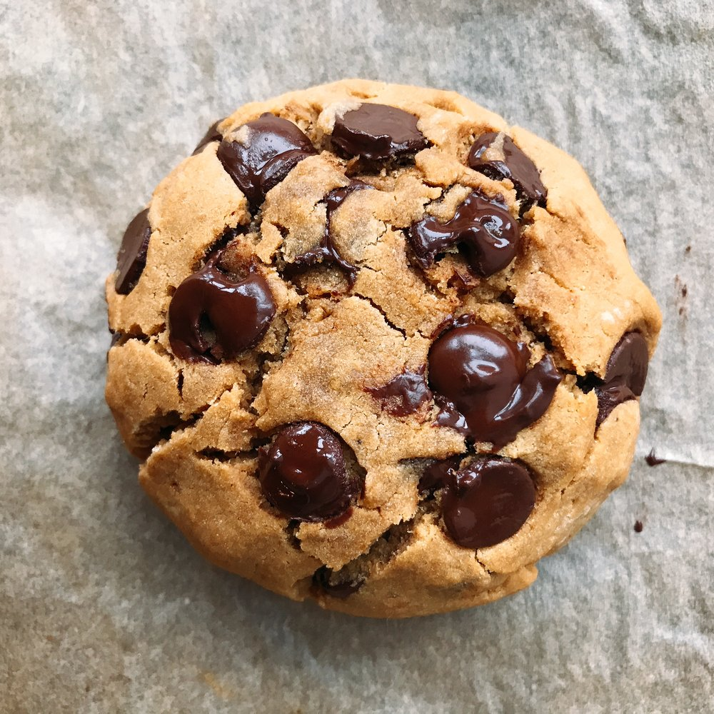 A gooey doughy like chocolate chip cookie for ONE that is completely dairy free and gluten free! Takes less than 20 minutes from start to finish!
