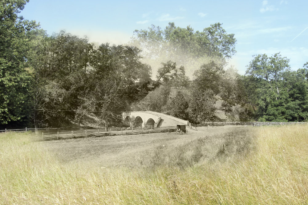 Burnside Bridge Antietam National Battlefield Then and Now