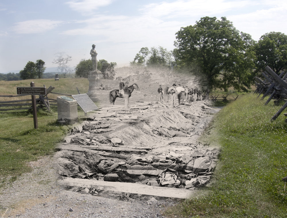 Bloody Lane Antietam National Battlefield Then and Now