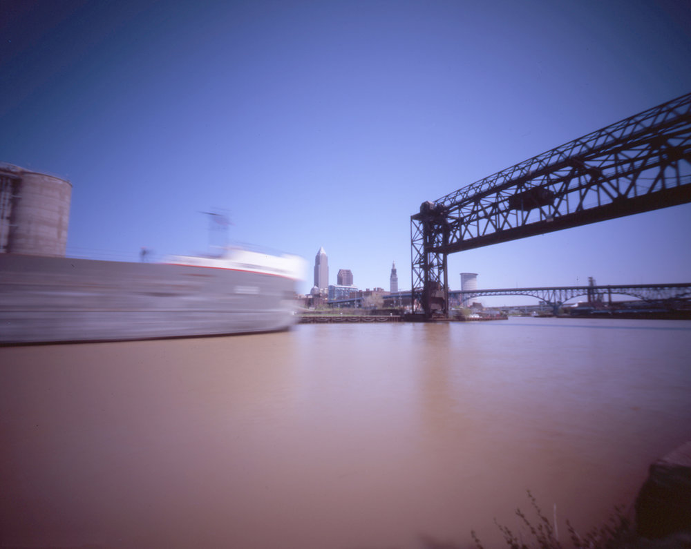 The Robert S. Pierson heads up the Cuyahoga (color)