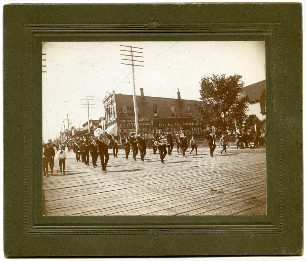 """Labor Day Parade, 5 Sep 1906."" List of uniformed companies. ""Maple Wood Park."" Stamped ""Taken by Merle Steenrod, Union City."""