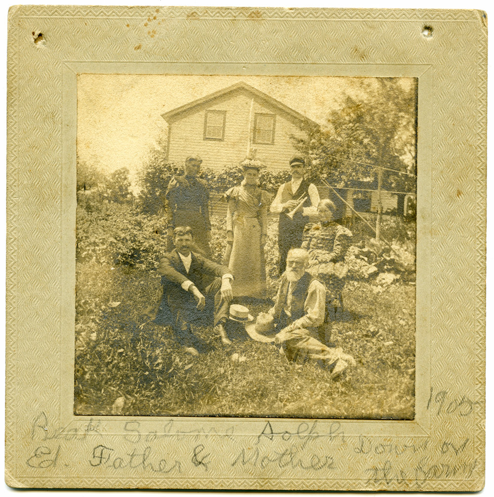 """Down on Our Old Farm Home on Waterford road."" Then, identification of all. ""Picture Taken abought 1905."""