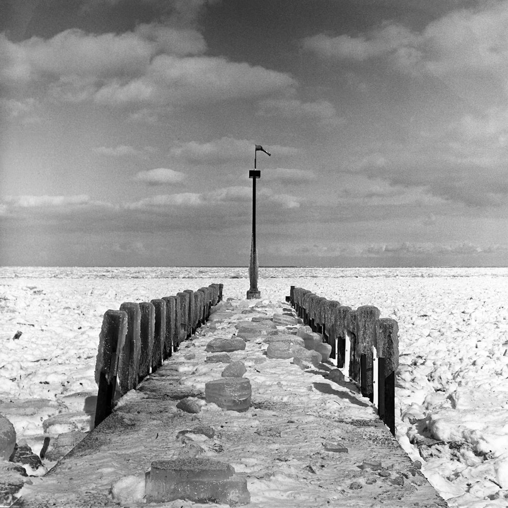 Boat Dock in Winter 6x6 BW Film
