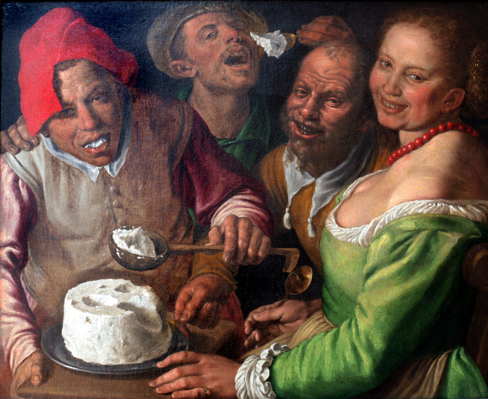 Vincenzo Campi. The Ricotta Eaters, 1580. Oil on canvas. Museum of Fine Arts Lyon. Image via Wikimedia Commons.
