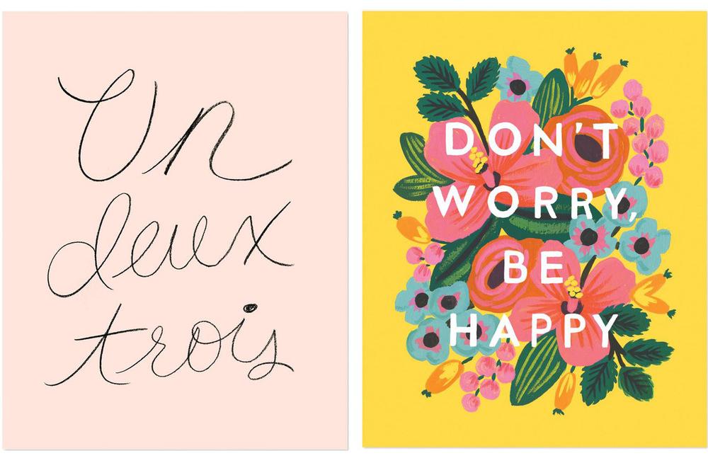 Un deux trois and Don't Worry Be Happy prints. Images via Rifle Paper Co.