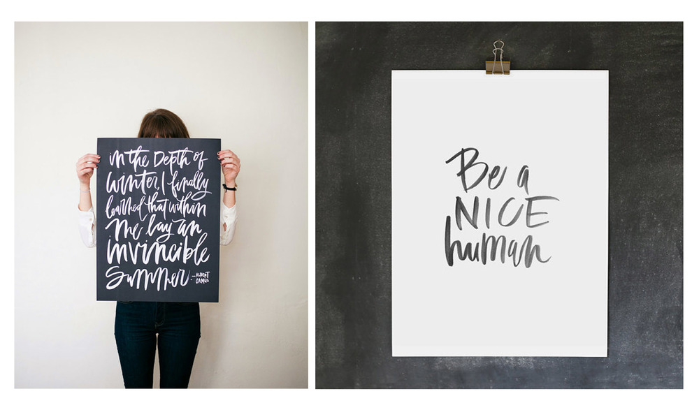 Invincible Summer and Be A Nice human prints. Images via Oh My Deer.