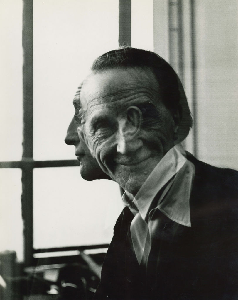 Portrait No. 29 (Double Exposure: Full Face and Profile). Victor Obsatz (born 1925). Gelatin silver print, 1953. Image via National Portrait Gallery.