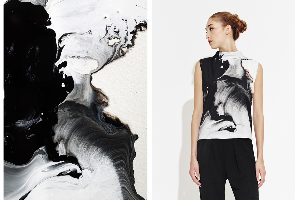 Ritual is Metaphor, painting by JD Doria (left). The Jealous Curator for AAP, featuring JD Doria high cowl sleeveless top, edition of 500 (right).