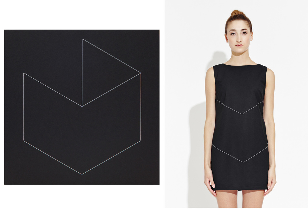 Black 16, sculpture by Monica Trastoy. The Jealous Curator for APP, Black 16 shift dress, edition of 100 (right).