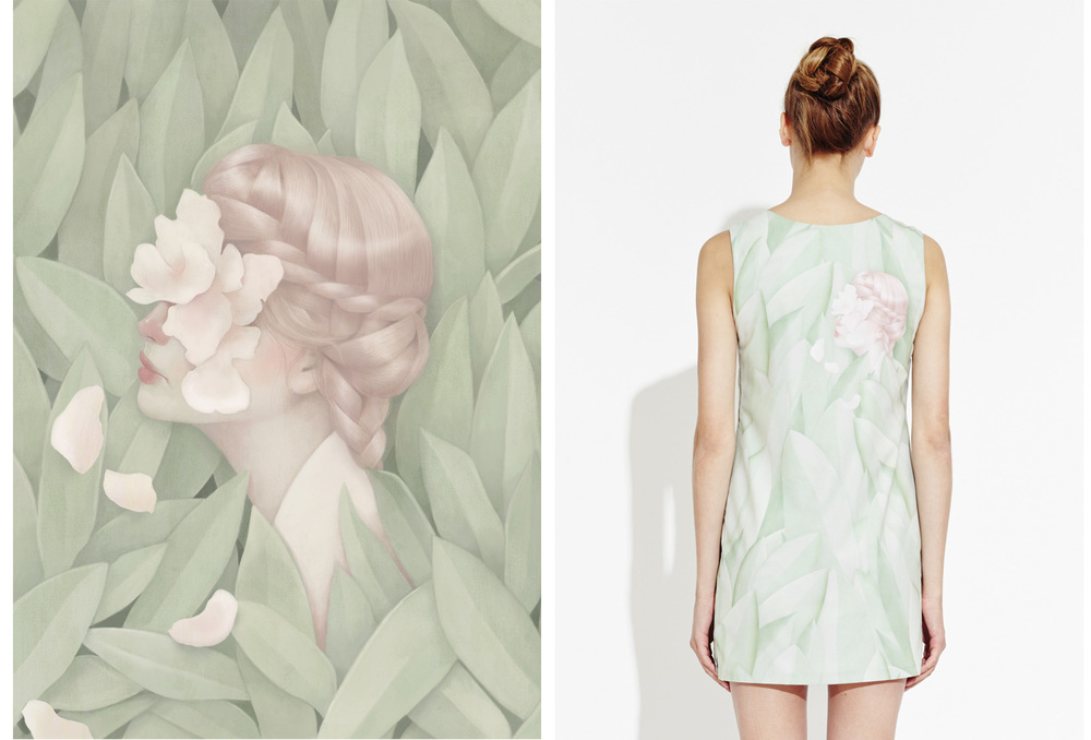 Girl, painting by Hsiao Ron Cheng (left). The Jealous Curator for APP, Girl shift dress, edition of 200 (right).