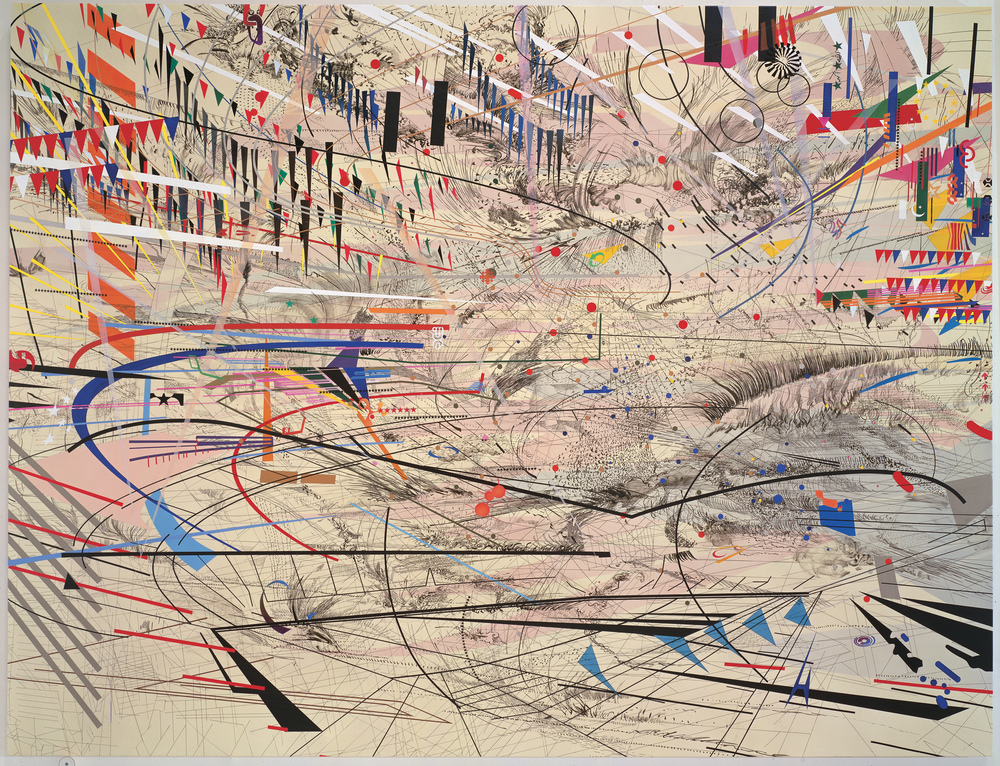 Julie Mehretu, Stadia I, 2004; ink and acrylic on canvas. Collection SFMOMA © Julie Mehretu. Caption info via SFMOMA; image via WikiArt.