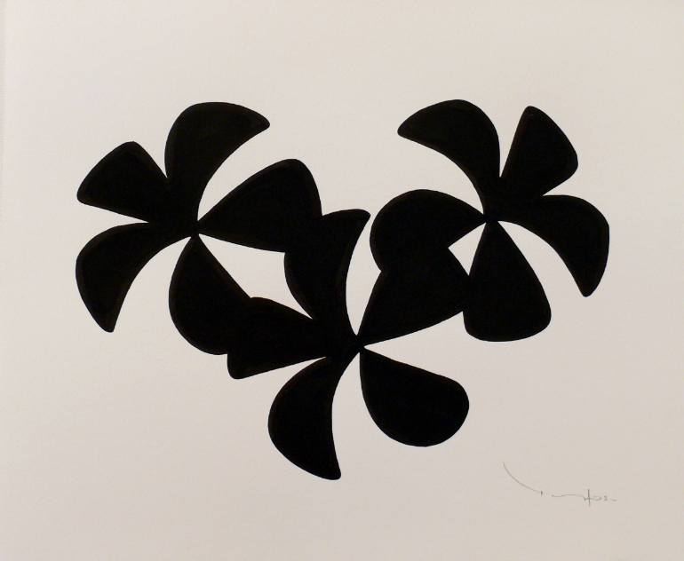 Three Black Flowers print from original acrylic on paper painting. Image via Saatchi Art.