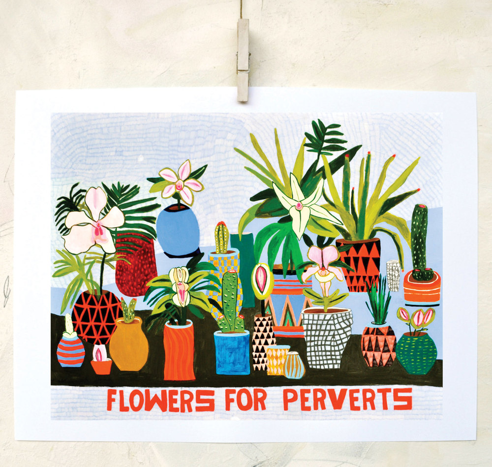 Flowers for Perverts print from original watercolor. Image via retrowhale Etsy.