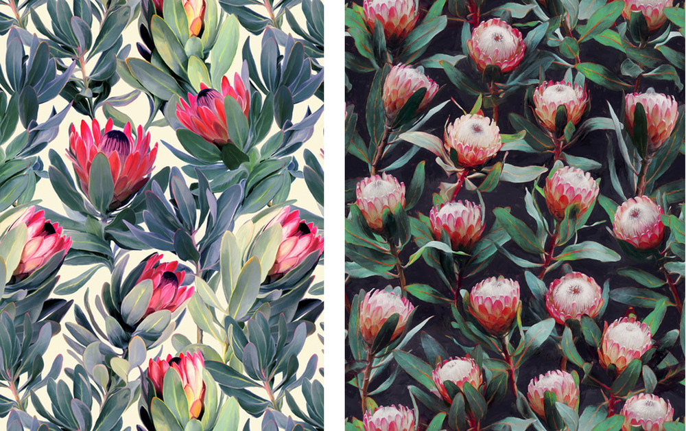Painted Protea Pattern (left), and Evening Proteas (right). Images via Society6.