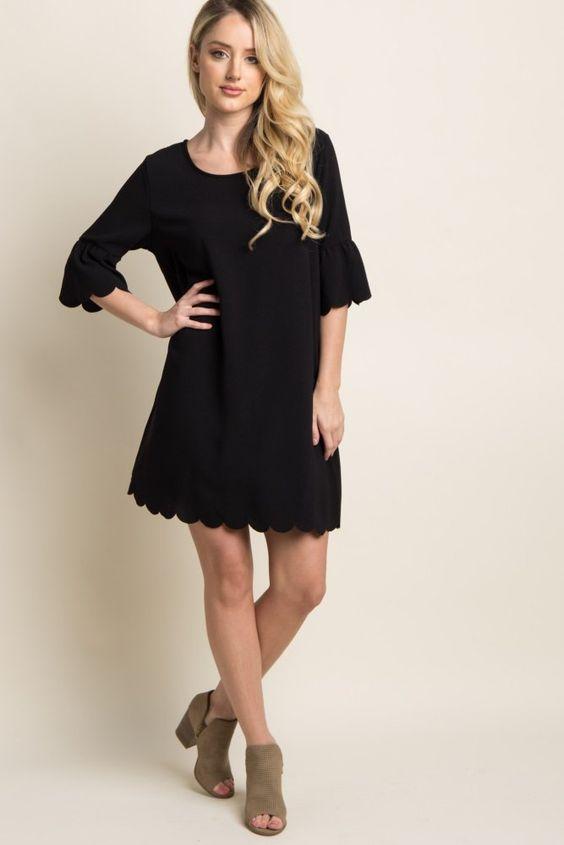 8fc22ab348a pink-blush-maternity-black-ruffle-sleeve-scalloped-hem-