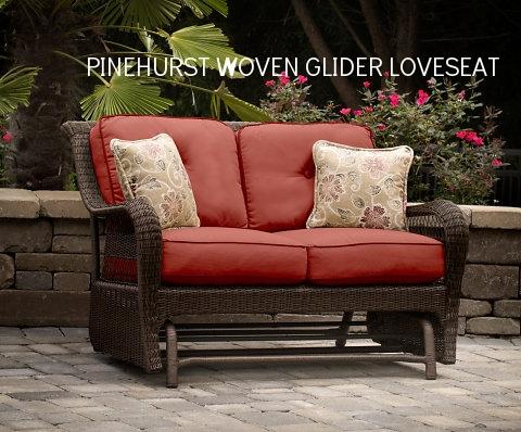 Pinehurst Loveseat Glider w 2 Pillows.jpg