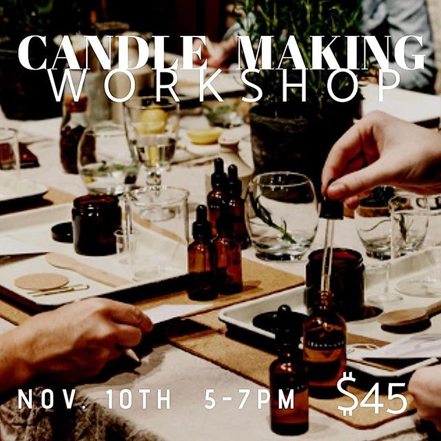 It's WORKSHOP time!! November 10th, 5-7 PM! $45 a ticket. Space is limited. Please DM to claim your space. You will be blending your own scents and pouring your own candles! I will be providing champagne 🥂 so come have fun. It also just happens to be the same day as our GRAND OPENING! So let me tell you, you won't want to miss this workshop!