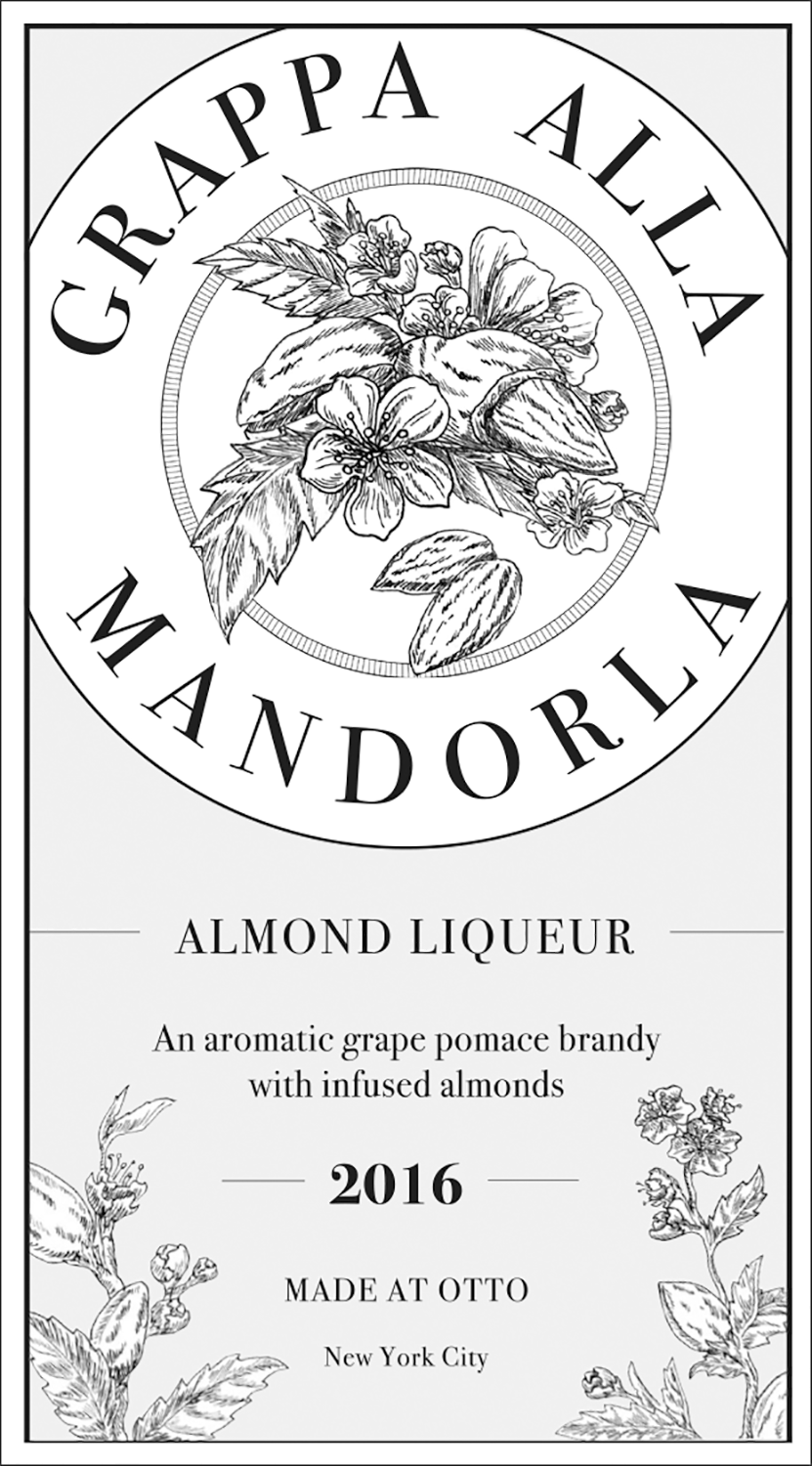 An preliminary design for the Grappa label, which at first, was supposed to resemble old apothecary sketches. I illustrated almond blossoms and branches (seen below) which were never used, although I still think they're nice. -
