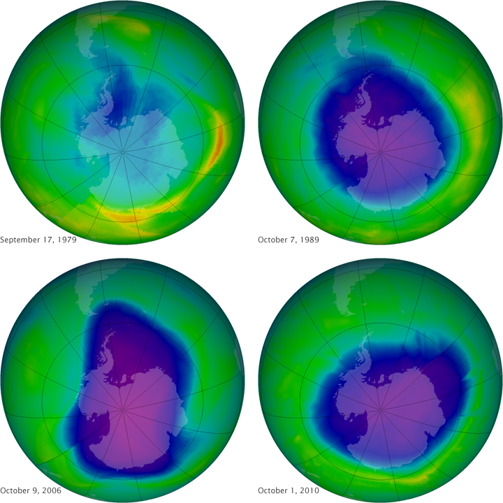 The ozone hole through the years. Image by NASA.