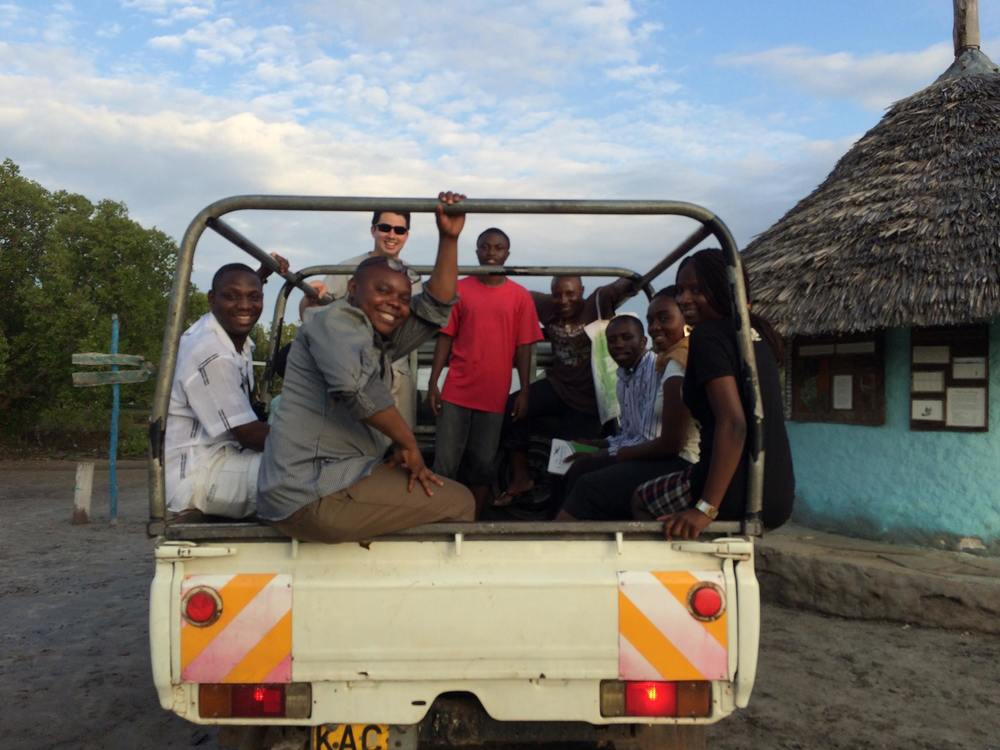 With our UCBC partners in the back of Kiboko (the pickup we used to get around)