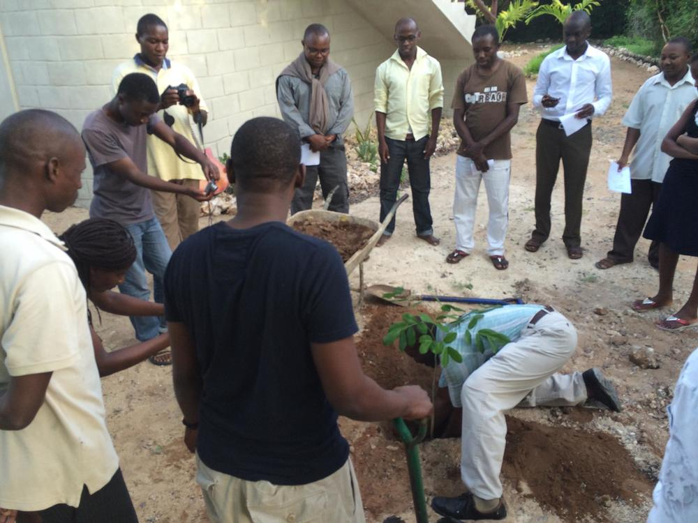 Our tree planting ceremony and prayer time at the of the training