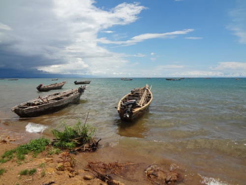 Fishing boats on the shore of Lake Tanganyika