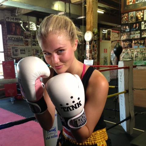 SCHERRI LEE BIGGS - MISS AUSTRALIA 2011 - ENJOYING HER BOXING FITNESS TRAINING AT FITNESS RING DURING THE RECENT FILMING FOR COXY'S BIG BREAK ON CHANNEL 7