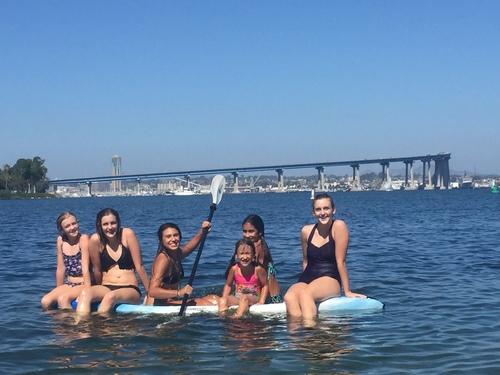 girls kayaking for play
