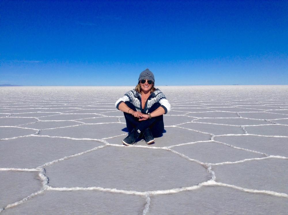 IMAGE Sarah Morrow©- Sarah on the salt flats of bolivia