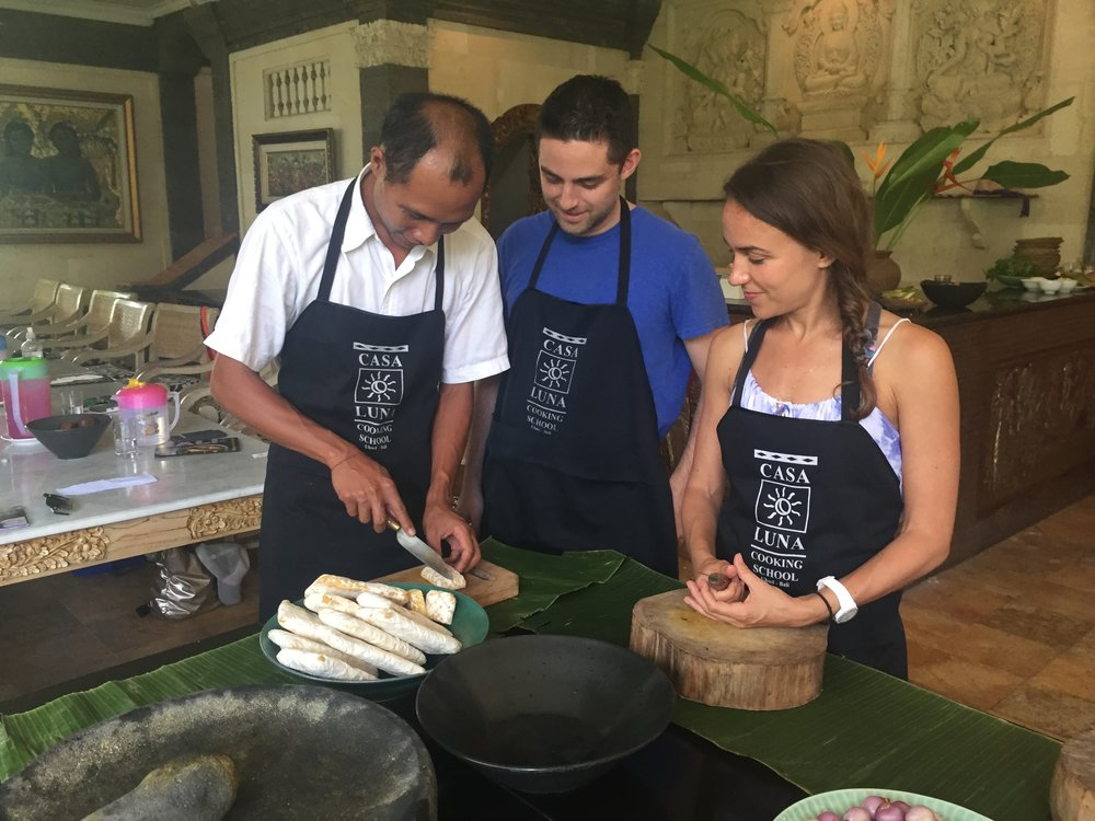 Guests cooking in ubud