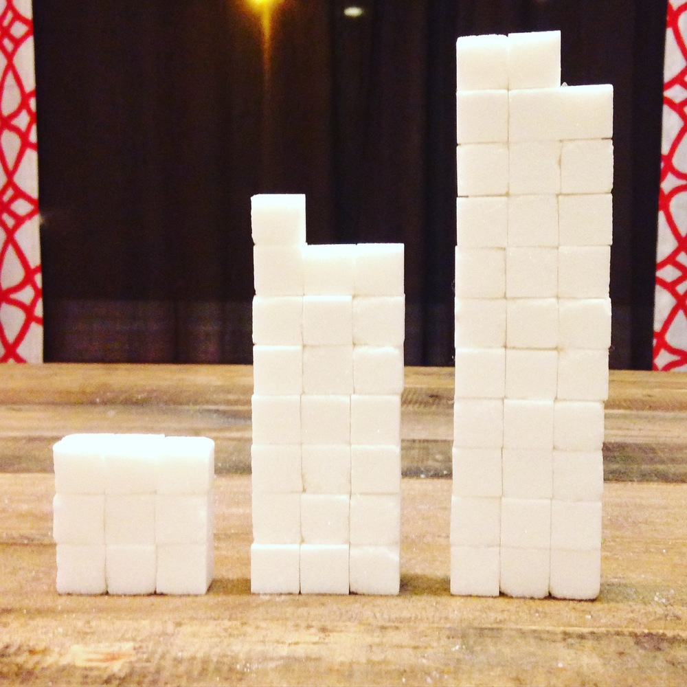 The far left is the amount of sugar considered alright for the average American man. The middle stack represents the average daily intake of American adults. The far right stack represents the amount of added sugar the average American child consumes daily. (Per the American Heart Association)