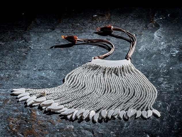 24-inch necklace ($1,500) made from buffalo horn, buffalo bone, and leather.  Photo courtesy of Sweet Olive