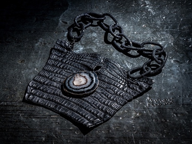 17-inch ($1,065) necklace created from crocodile leather, a geode, shagreen sharkskin links, and a black goldplate clasp.  Photo courtesy of Sweet Olive