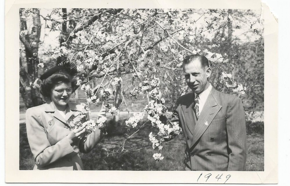 Arnold Nila engagement 1948 blossoms.jpg