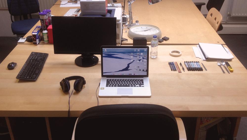 Jo's desk in Hoxton looking impressively tidy!