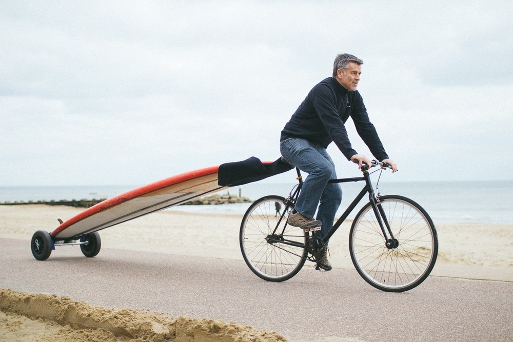 One of our super early projects — a surfboard carrier for bikes