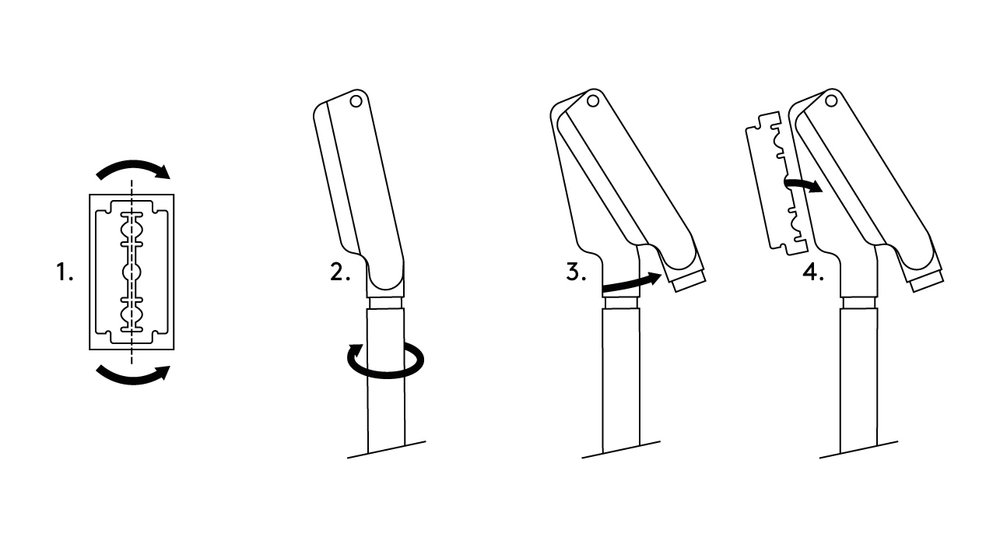 How to load the blade - 1. Snap the blade in two whilst it's still in the paper.2. Twist handle to free the top paddle.3. Open paddle.4. Place single edge of blade into razor and close.