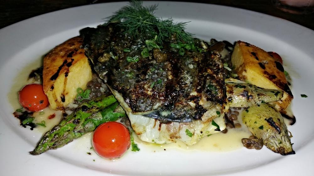 Grilled mediterranean seabass