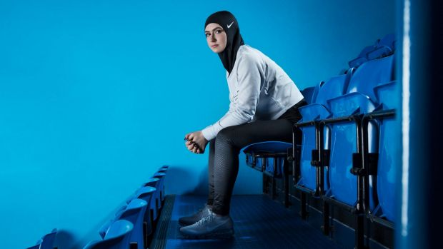 Zahra Lari, figure skater from the United Arab Emirates, showcasing the new Nike headgear