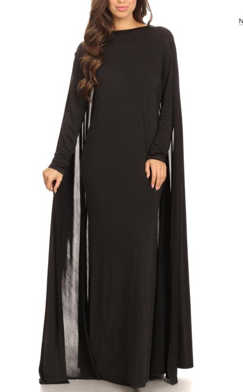 Black Soiree Cape Gown — PFH