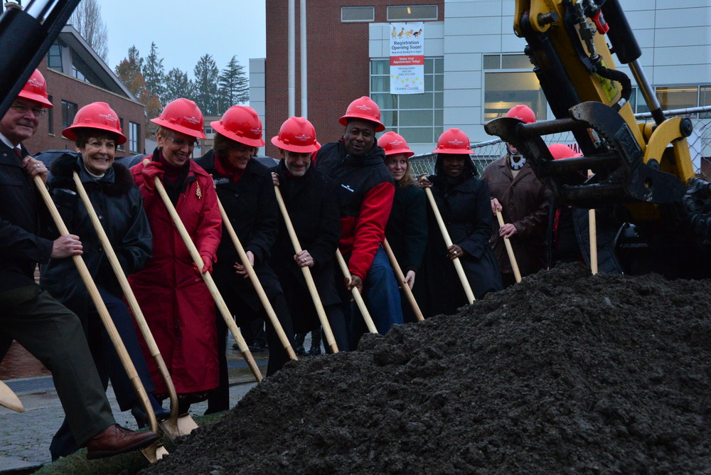 President Mitchell joined fellow Olympic College staff members to break in the new project
