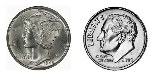 Mercury Dime on the left; current dime design with Pres. Franklin Roosevelt on the right. Both photos provided by wikipedia.com.