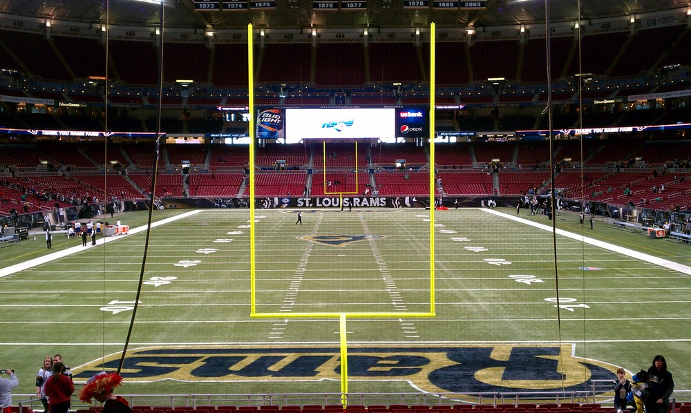 """Edward Jones Dome endzone view"" by Clstds - Own work. Licensed under CC BY-SA 3.0 via  Wikimedia Commons"