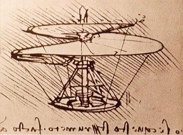 "Leonardo da Vinci's ""aerial screw"" sketch (Wikipedia)"