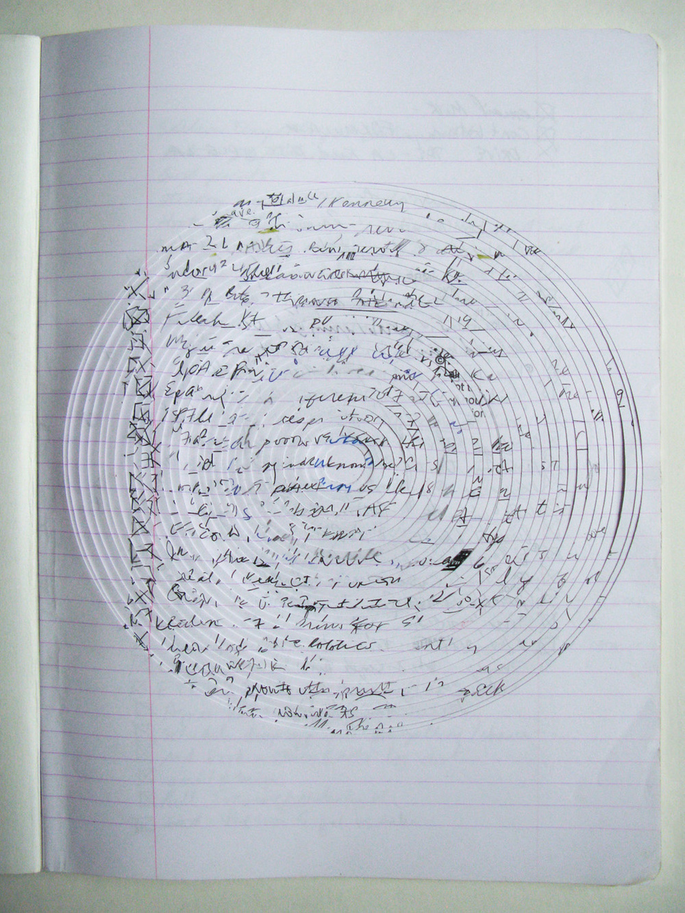 Concentric,  2014             notebook, ink, pencil, marker, highligher   11 ½ x 8 ¼""